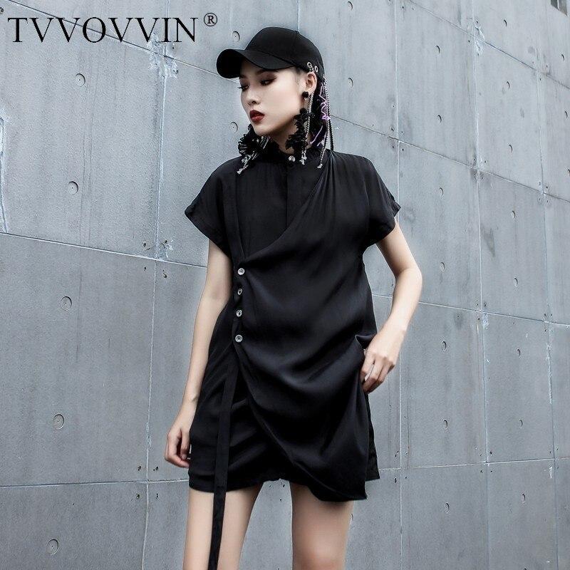 TVVOVVIN 2019 personnalité noir Blouse été mode nouveau Stand plomb chemise sans manches pour femme Casal irrégulière hauts AS858