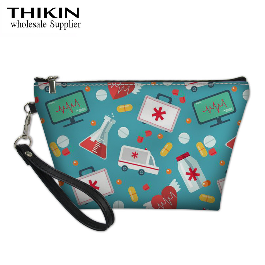 THIKIN Medical Ambulance Print Ladies Large Capacity Cosmetic Cases Women Make Up Bags For Females Nurse Pattern Makeup Pouch