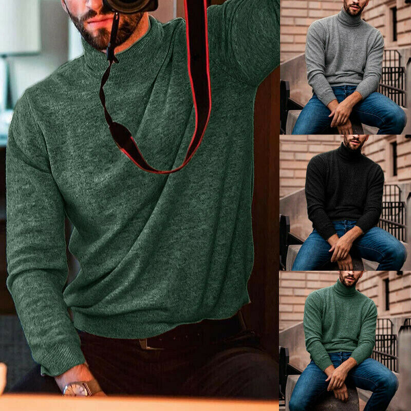Autumn Winter Men's Warm Soft Cotton High Neck Pullover Jumper Sweater Tops Casual Basic Tops Fashion Clothes Plus Size XXXL