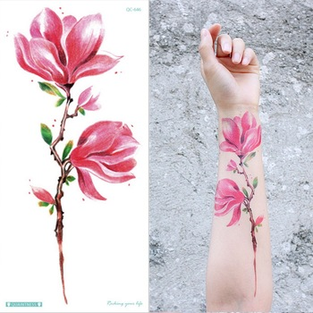 temporary armband tattoos waterproof temporary tattoo sticker flower lotus tattoo sleeve women wrist arm sleeves tatoo fake girl 6