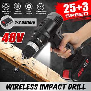 48V 25+3 Torque Cordless Impact Drill Electric Screwdriver Mini Wireless Power Driver DC With 1/2 Lithium-Ion Battery 3/8-Inch
