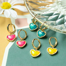 Dainty Colorful Heart Drop Earrings for Women,Gold Hoop Earrings,Engagement Party Accessories,Earrings Jewelry