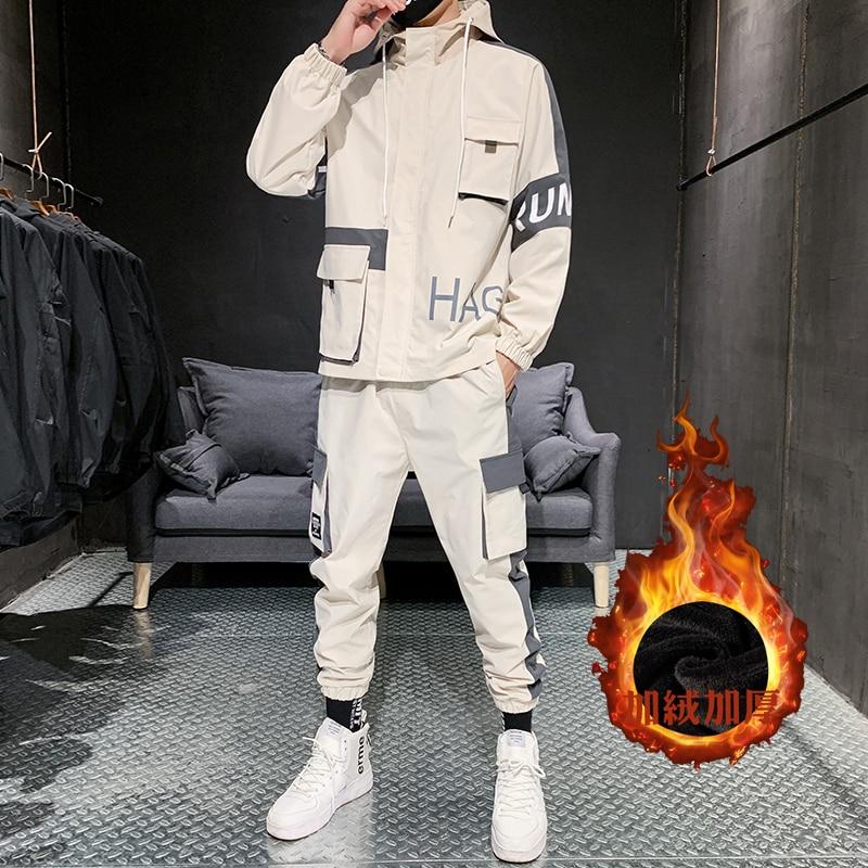 Men's Tracksuit Fall/winter Man 2 Piece Set Sweat Suit Polyester Overalls Korean Add Wool Thicken Plus Size Hoodies/harlan Pants