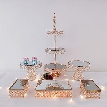 Złoty deser ślubny taca ciasto stojak cukierki patera na wesele wakacje ciasto Cupcake Pan zaopatrzenie imprezy akcesoria kuchenne tanie i dobre opinie MYPOAYHODO stojaki CN (pochodzenie) Przybory do ciasta Ekologiczne Metal