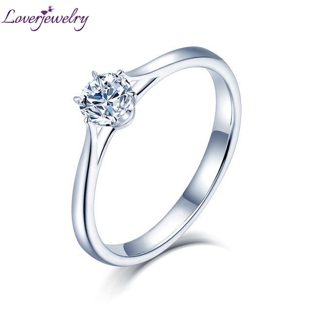 LOVERJEWELRY 14Kt Moissanite Rings 여성 라운드 컷 천연 Moissanite Lab 여성 다이아몬드 약혼 선물을위한 화이트 골드 다이아몬드