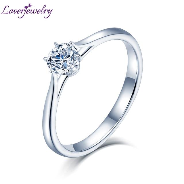 LOVERJEWELRY 14Kt مويسانيتي خواتم النساء الجولة قص الطبيعية مويسانيتي مختبر نمت الماس في الذهب الأبيض للإناث المشاركة هدية
