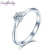 Loverjewelry 14Ktモアッサナイトリング女性ラウンドカット天然リアルダイヤモンドウェディング用ホワイトゴールド女性婚約ギフト