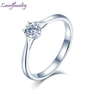 Image 1 - Loverjewelry 14Ktモアッサナイトリング女性ラウンドカット天然リアルダイヤモンドウェディング用ホワイトゴールド女性婚約ギフト