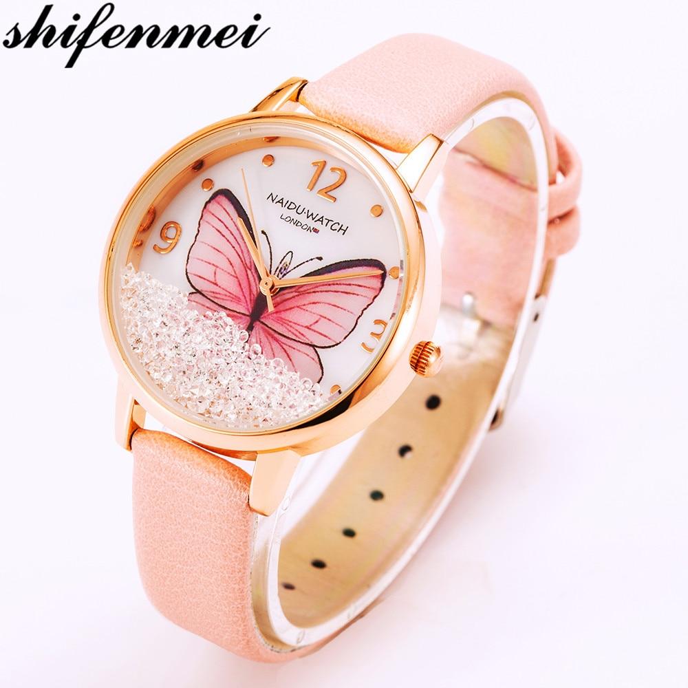 Women Leisure Watch Naidu Fashion Butterfly Leather Dress Quartz Wristwatch Reloj Mujer Womens Feminino Relogio Montre Saati