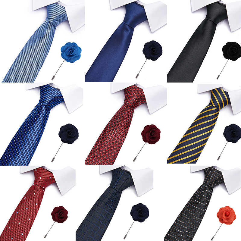 Mens Ties 7cm Classic Cotton Handmade Skinny Neck Pin&Ties Set For Men Striped   Collar Slim Cashmere Tie Casual Plaid Tie