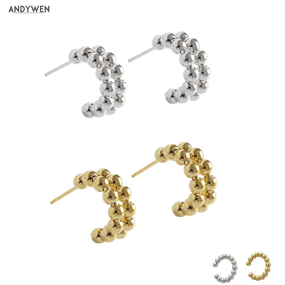 ANDYWEN 925 Sterling Silver Beads EarCuff Circle Large Hoops Round Piercing Clips Women Luxury Jewelry Women Luxury Jewelry
