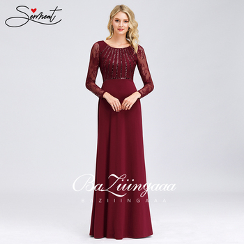 New Elegant Woman Evening Gown Round Neck Long Sleeve Lace Fishtail Plus Size Dress