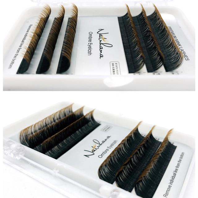 NATUHANA 6Rows Ombre Color Eyelash Extension Individual Faux Mink Lash False Gradients Eyelashes Professional Salon Makeup tools 3