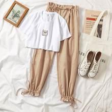 2 conjunto de duas peças das mulheres dos desenhos animados imprimir o pescoço tshirt e calças compridas definir casual sexy verão manga curta feminino calças de treino terno