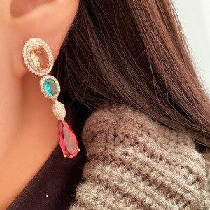 Image 4 - אופנה ארוך אדום cz drop עגיל לנשים