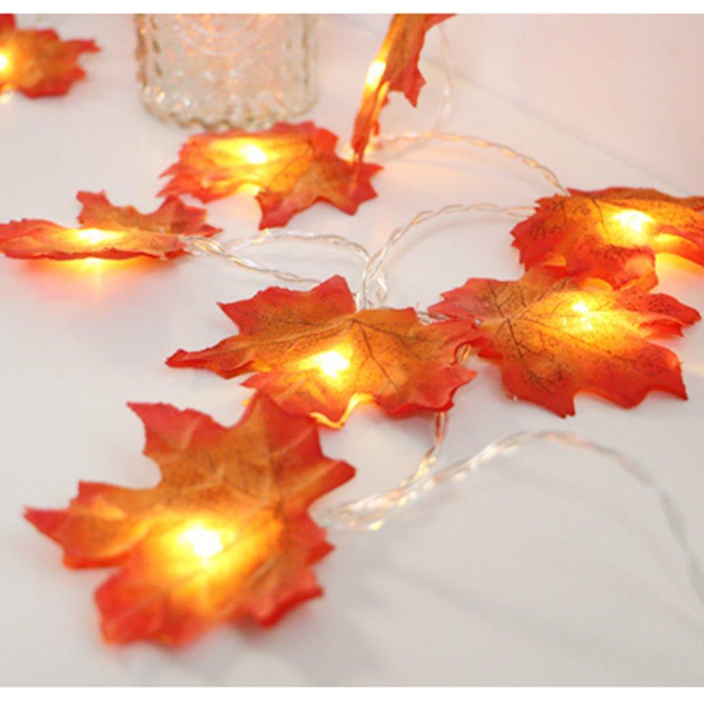 Autumn Decoration 20LED Artificial Autumn Leaves Maple Leaves Plastic Fall Garland String Light Decor Halloween Christmas 1pcs