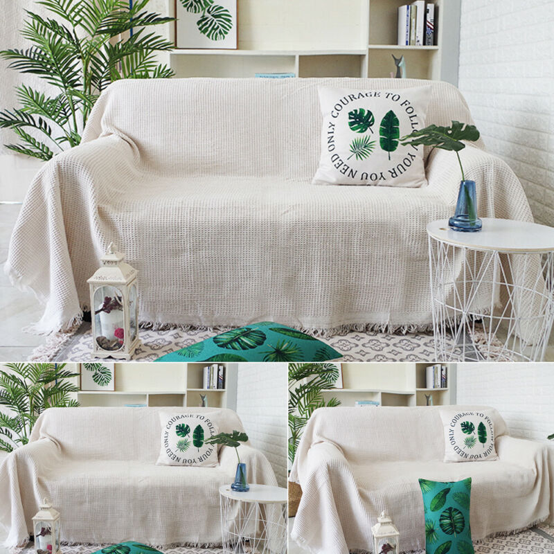 Large Size Sofa Cover Household Solid Cotton Quality Woven Sofa Bed Throw Blanket Function Bedspread Settee Sofa Cover 130x180cm