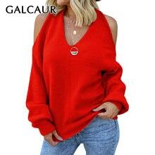 Женский свитер с v образным вырезом galcaur Свободный вязаный