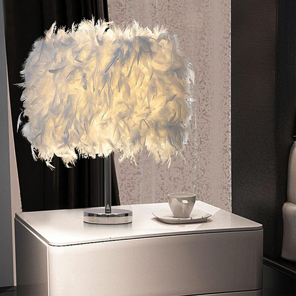 15x35cm Modern Handmade Feather Lampshade Bedside Desk Night Light Beautiful Oval Shape Feather Crystal Table Lamp Home Decors