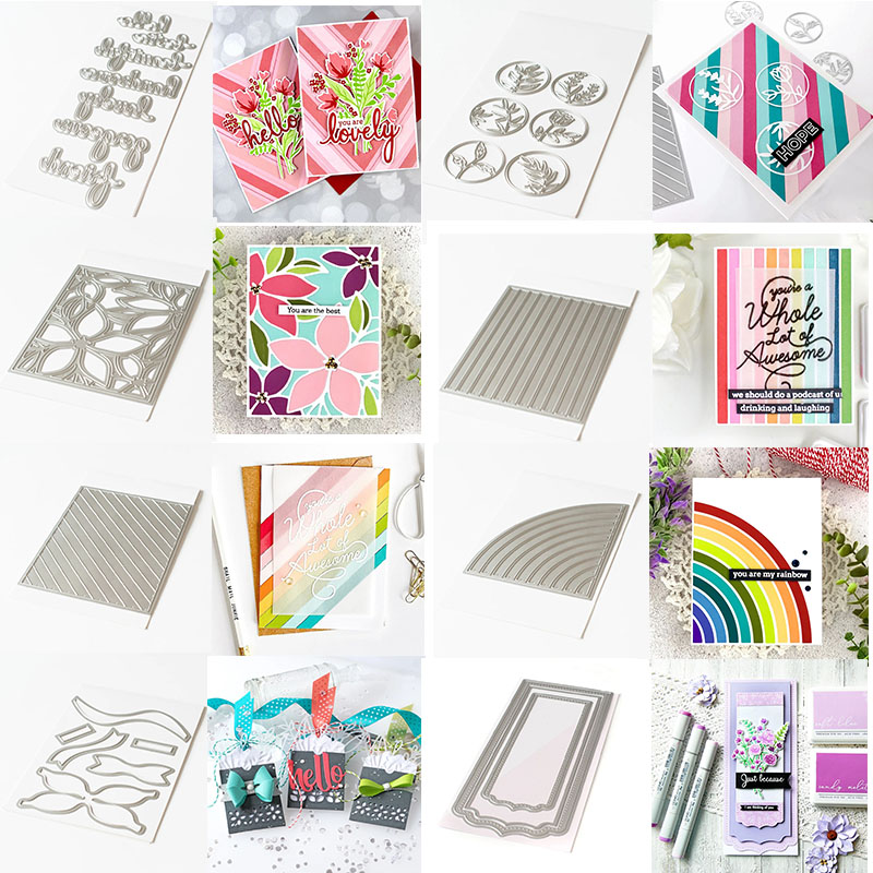 Hello Phrases  Floral Circles Diagonal Block Stripes Artistic Bows Metal Cutting Dies For DIY Scrapbooking Cards Crafts 2020 New