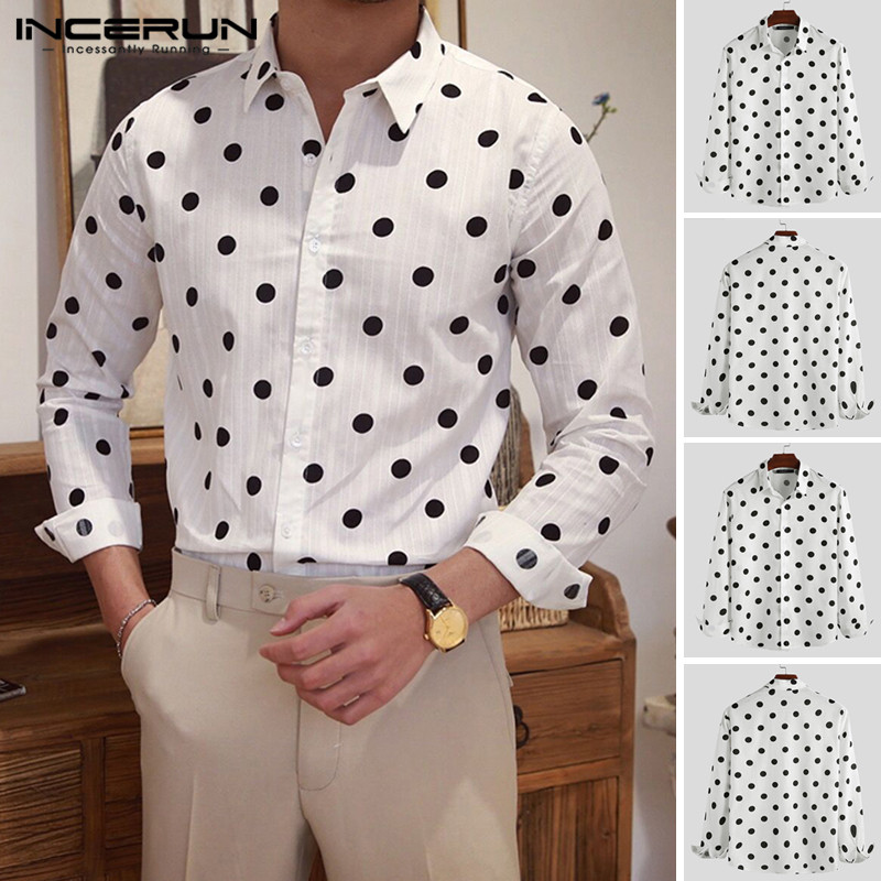 Men Dress Shirt Polka Dot Cotton Stylish Long Sleeve Lapel Neck Streetwear Tops Chic Retro Brand Casual Shirts Men 2020 INCERUN