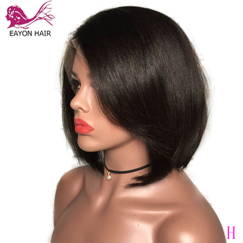 EAYON Yaki Straight Short Bob Glueless Full Lace Human Hair Wigs Perplucked With Baby Hair Brazilian Remy 130% Density Side Part