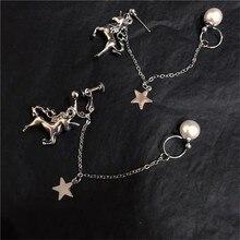 1PC retro simple unicorn earrings star chain pendant earrings cool female pearl heart-shaped love cupid earring 2019 New недорого