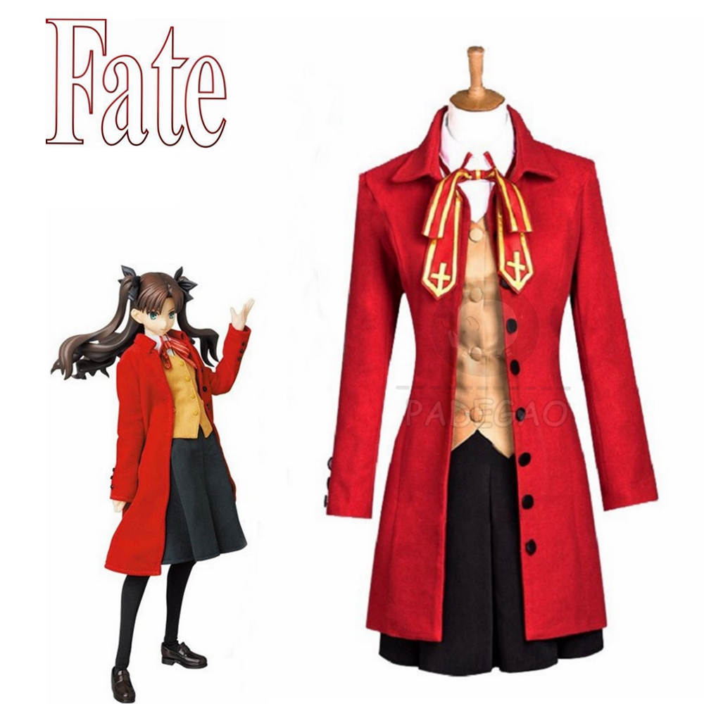 Anime Fate Stay Night Cosplay Rin Tohsaka Costumes Halloween Costume For Women Trench Coat Vest Skirt Full Set Cosplay Costume