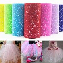 25 Yards 15cm Glitter Sequin Tulle Roll Tutu Fabric Wedding Decoration Organza Laser DIY Crafts Birthday Party Supplies White