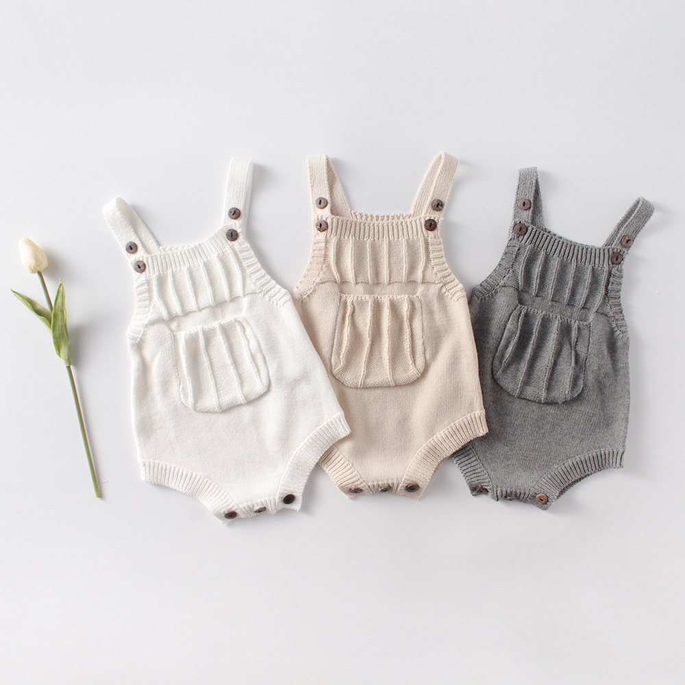 MILANCEL Baby Clothes  Sleeveless Baby Knit Bodysuit Front Pocket Baby Girls Boys One Piece