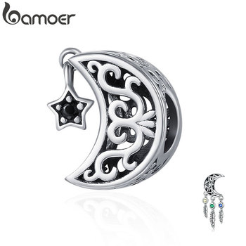 BAMOER 100% 925 Sterling Silver Openwork Moon and Star Goodnight Charm Beads fit Bracelet DIY Jewelry Valentine Day Gift SCC483 bamoer valentine day gift 925 sterling silver cheers for love couple beer pendant charm fit charm bracelet diy jewelry scc478