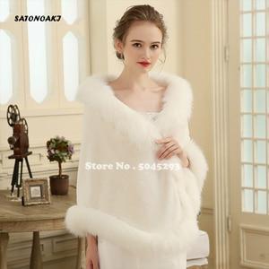 Image 1 - Hot Sale 2020 Cheap Wedding Jacket Bride Wraps Cape Winter Wedding Dress Wraps Bolero Wedding Fur Bridal Coat Accessories