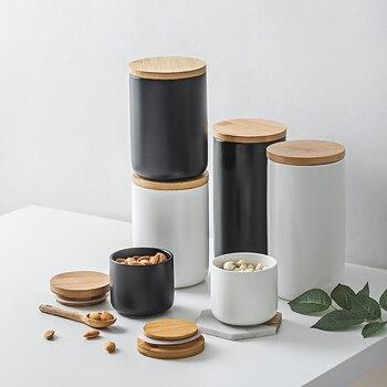 Nordic Ceramic Seal Storage Bottle Jar Multipurpose Wood Cover Kitchen Seasoning Jar Coffee Bean Jar Home Kitchen Decoration 1