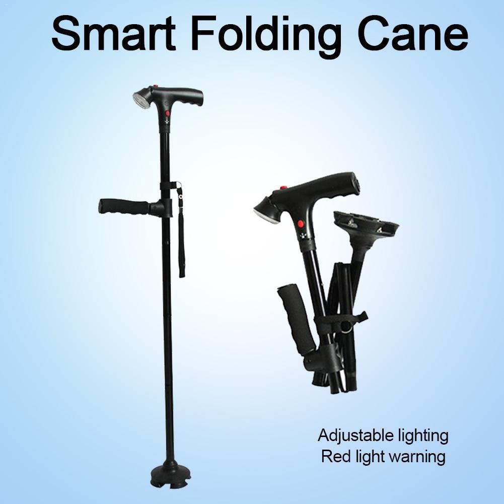 T-handle Walking Stick LED Telescopic Hiking Trekking Poles Aluminum Alloy Metal Folding Cane Elderly People Crutches Pole