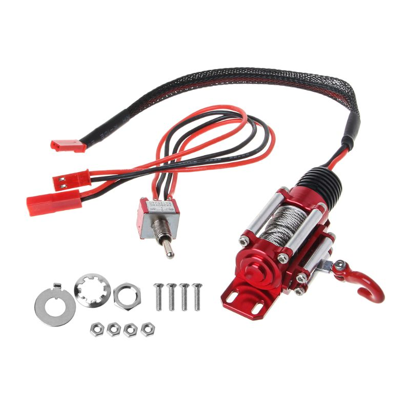 Metal Steel Wired Automatic Simulated Winch with Switch for 1/10 HSP Redcat <font><b>HPI</b></font> TAMIYA Axial SCX10 RC4WD D90 <font><b>RC</b></font> Car R7RB image