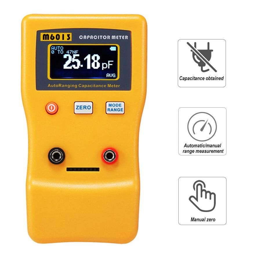 Цифровой измеритель емкости с автоматическим выбором диапазона от 0,01 пФ до 470000 мкФ ЖК-дисплей Электронный Конденсатор от 0,01 пФ до 470 м6013 с те...
