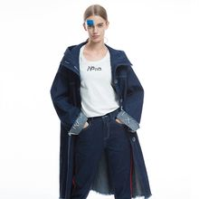 New Arrivals Women Brief Oversized Denim Trench Coat Ladies Single Breasted Casual Ultra Loose Long Hooded Outerwear Overcoat(China)