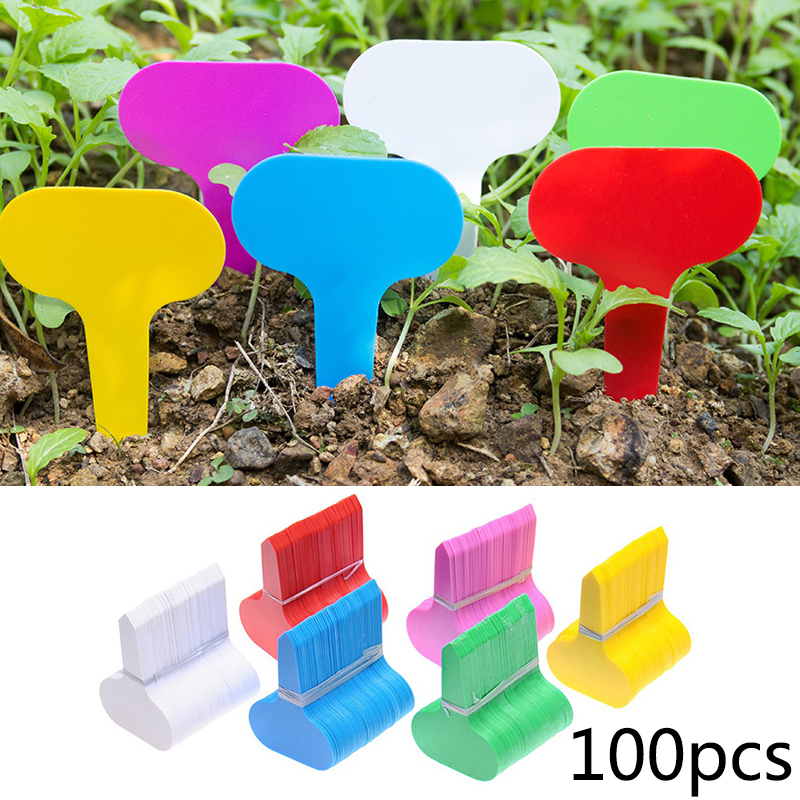 100pcs Colorful PP Gardening Insert Plant Labels Mini T-type Plant Marker Flower Nursery Tags For Name Classification