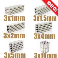 100 pçs mini pequeno n35 ímã redondo 3x1 3x1.5 3x2 3x4 3x5 3x10mm ímã de neodímio permanente ndfeb super forte poderoso ímãs