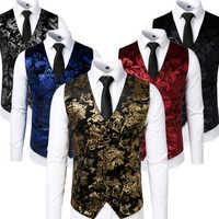Gilet Steampunk or hommes costume Gilet Homme mariage sans manches coupe ajustée Paisley robe florale gilets pour hommes simple boutons Gilet