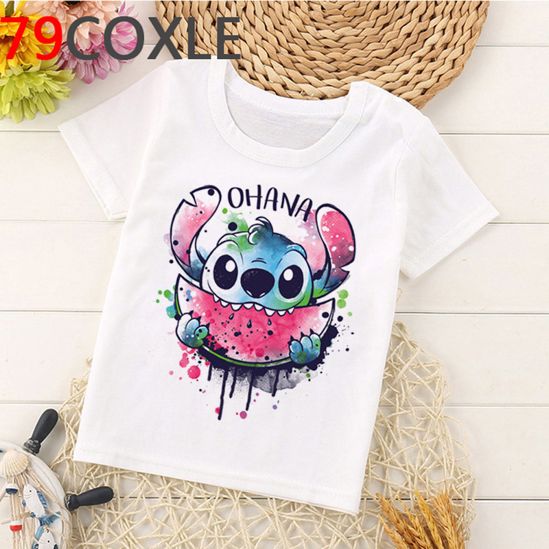 Kawaii Lilo Stitch T Shirt Kids Summer Top Cartoon Children T-shirt Stitch Ohana Funny Anime Graphic Tees Casual Tshirt Children