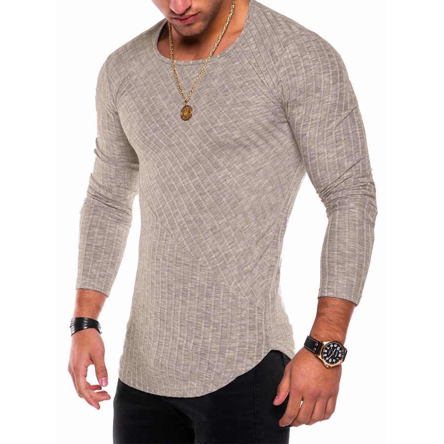 Однотонная Тонкая Повседневная мужская футболка с круглым вырезом для работы, спорта, фитнеса, Мужская футболка с длинным рукавом, прочная летняя одежда