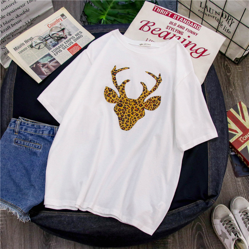 Women Animal Print Cute shirt Short Sleeve Kawaii 2019 New Vogue oversized funny Summer graphic luxury brand in T Shirts from Women 39 s Clothing