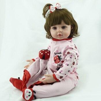 48CM Reborn Baby Doll Toy Vinyl Soft Cute Pink Cloth Body Fashion Short Volume Hair Sleeping Baby Doll Children Pretend Play toy