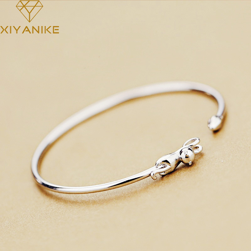 XIYANIKE 925 Sterling Silver Korean Style Cute Cat Creative Bracelets Bangles Jewelry Adjustable For Women Wedding Couple