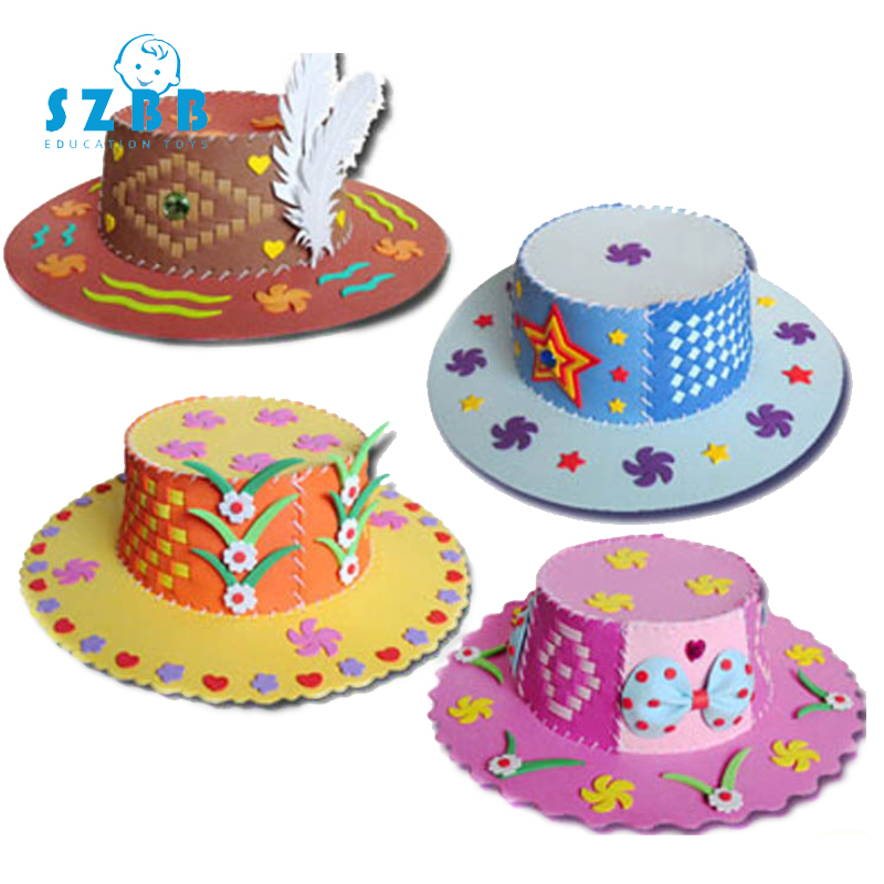 Sz Steam EVA Foam Paper Weaving Hat Creative Flowers Stars Patterns Kindergarten Art Children DIY Craft Toys DIY Decorations