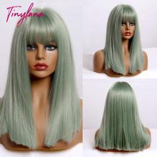 Синтетические парики крошечной Ланы средней длины прямой зеленый