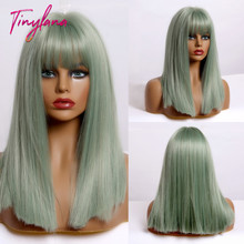 TINY LANA Synthetic Wigs Mid-length Straight Light Green wit