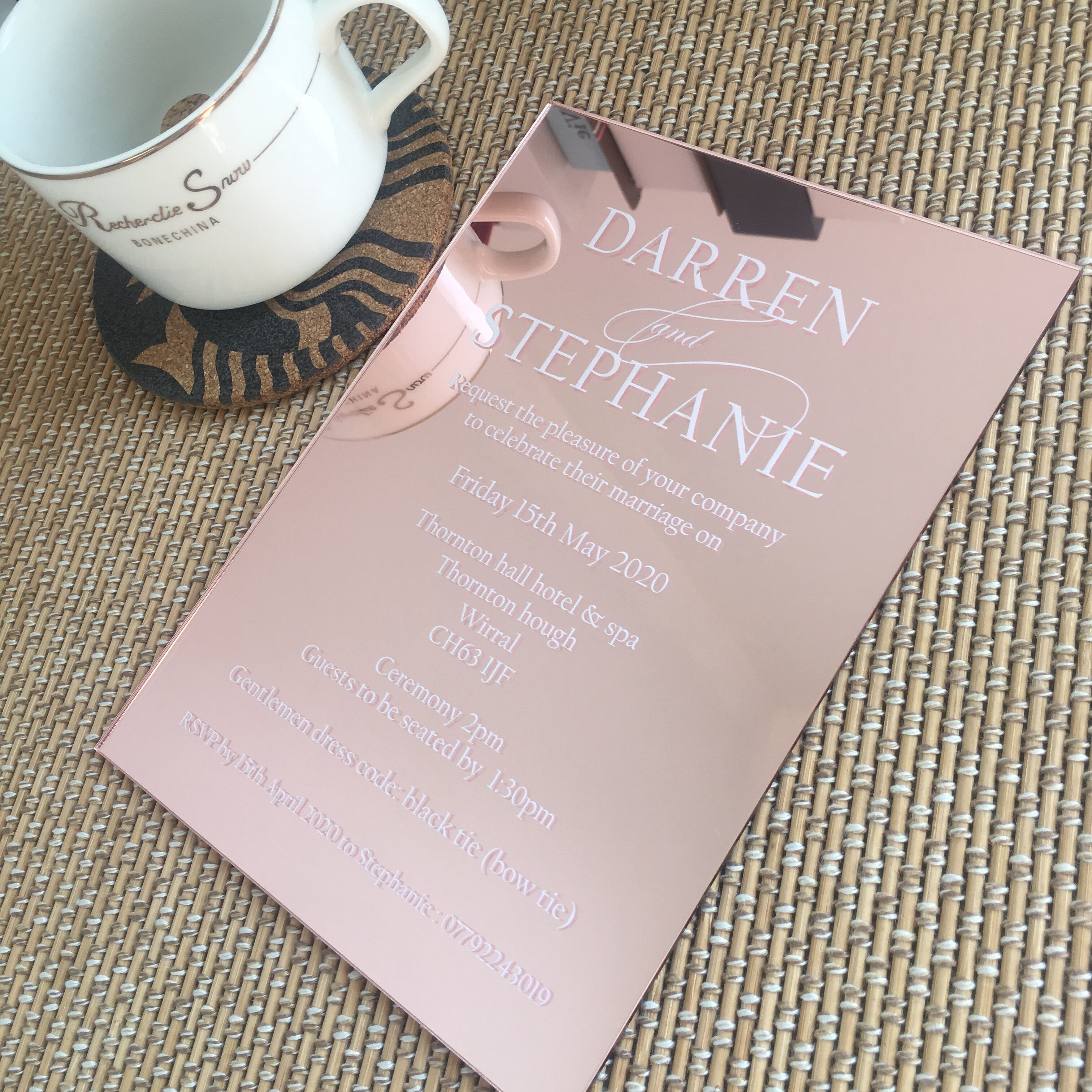 10pcs Hot Sell Elegant Rose Gold Mirror Acrylic Wedding Invitation Card With Colorful Printing