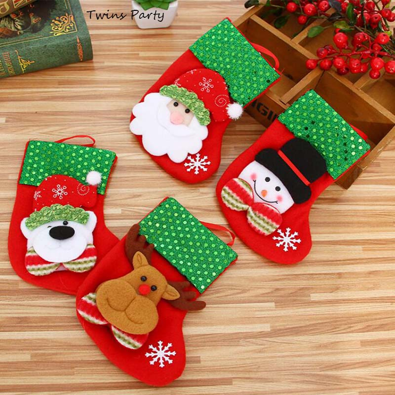 Twins Party Christmas Socking Santa Claus Sock Gift Kids Candy Bag Gifts Stereo Socks Soft Cotton Cute